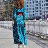 vestido lunares boho azul